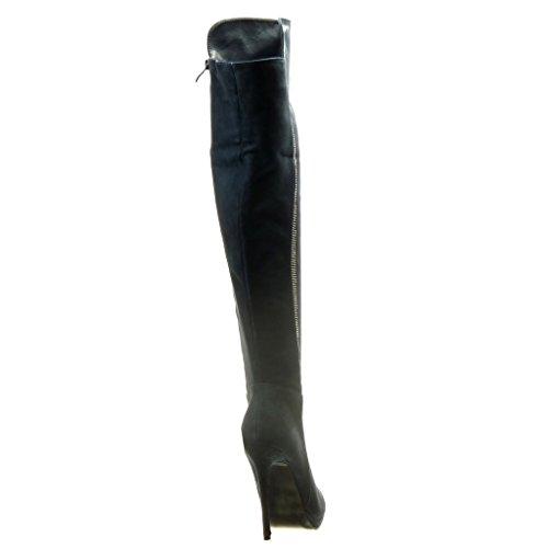 Strass Botas Azul Piel Sexy Altas Aguja Stiletto 5 Zapatillas De Cm Tacón Forrada 11 Mujer Angkorly Alto Moda 4wCqFg0