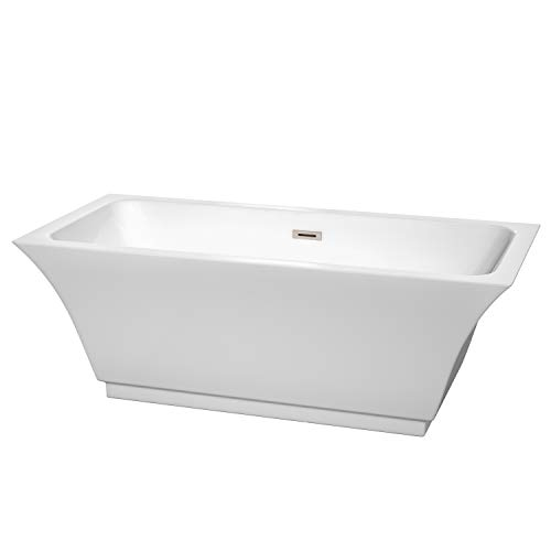 Wyndham Collection WCBTK151967BNTRIM Galina Freestanding Bathtub with Brushed Nickel Trim, 67