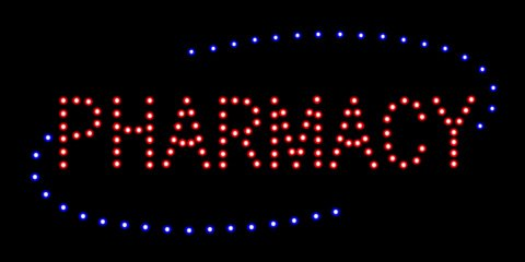 LED Pharmacy Open Light Sign Super Bright Electric Advertising Display Board for Drugstore Chemists's Shop Store Window Bedroom Decor 19 x 10 inches