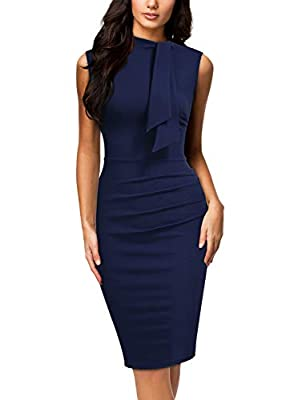 Miusol Women's Retro 1950s Style Half Collar Ruffle Cocktail Pencil Dress