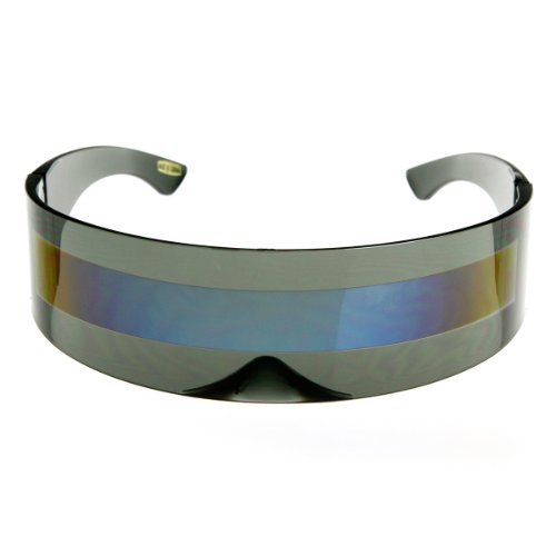 zeroUV - 80s Futuristic Cyclops Cyberpunk Visor Sunglasses with Semi Translucent Mirrored Lens (Smoke/Ice) ()