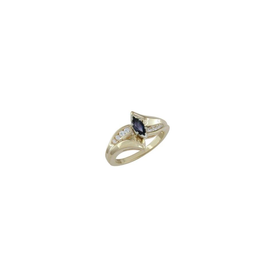 Daija   size 4.25 14K Gold Sapphire & Diamond Ring
