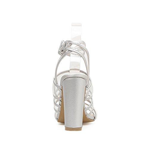amarre transparentes europeo ZHZNVX alto con zapatos Silver como ultra sandalias zapatos de boca zapatos expuesto gruesas Ranurados de americano los ranurados de de y mujer pescado para verano de tacón Bq0Z7Bf
