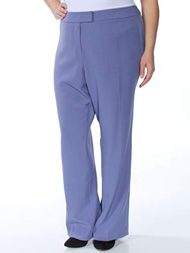 Anne Klein Womens Plus Straight-Leg Comfort Waist Casual Pants Blue ()