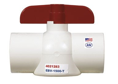 King Brothers Inc. EBV-1500-T Nds 1-Piece Economy Full Port In-Line Ball Valve, 1-1/2 In, Fipt, 150 Psi, Pvc 1/2-Inch