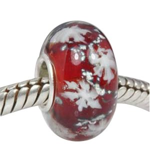 (Christmas Snowflake Charm925 Sterling Silver Core Flower Glass Charms Bead Fit DIY Charm Bracelet & Necklace (RED))