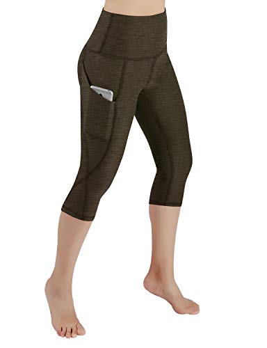 ODODOS High Waist Out Pocket Yoga Capris Pants Tummy Control Workout Running 4 Way Stretch Yoga Leggings,Olive,X-Large