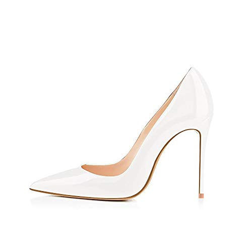 Elisabet Tang High Heels, Women Pumps Shoes 3.94 inch/10cm Pointed Toe Stiletto Sexy Prom Club Heels WH 10 White