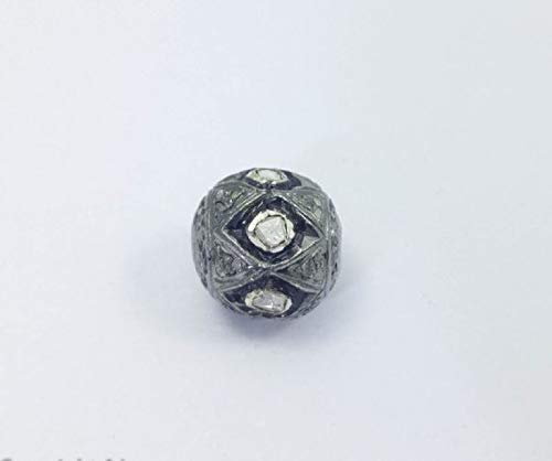Pave 10mm Diamond Beads - Pave Silver Beads With Polki Diamonds - Leather Beading Findings - Pave Beads- 925 Solid - Beading Finding