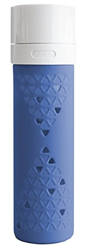 SANS Juice and Smoothie Preserving Vacuum Sealed Glass Travel Bottle, Berry Blue
