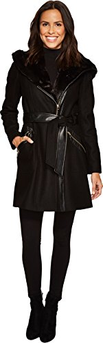 Via Spiga Women's Mix Media Wool Belted Black 8 (Belt Via Leather Spiga)