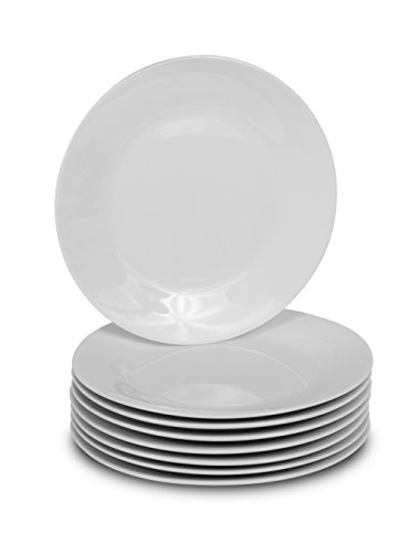 Klikel 8 White Salad Plates | Porcelain Round Dinnerware | 7.5-inch Appetizer or Bread Classic Solid Coupe Style Plate Set