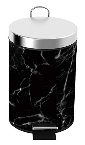 (Home Basics Faux Marble 3 Liter Step Waste Trash Can for Bathroom, Kitchen, Powder Room with Built-in Metal Handle & Removable Plastic Liner Bin (Black), Garbage)