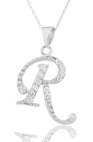 925 Sterling Silver 'Letters of the Alphabet' Pendant with Cz Stones and an (I-1572 -