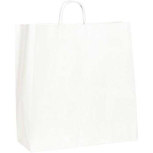 Paper Shopping Bags, 18'' x 7'' x 18 3/4'', White, 200/Case by Choice Shipping Supplies (Image #1)