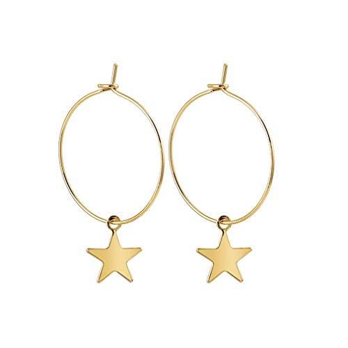 YESMAEay Star Dangle Hoop Earrings Five-Pointed Star Circle Earrings Hollow Ear Studs Golden