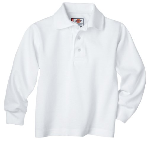 Dickies Big Boys' Uniform Long Sleeve Performance Polo Shirt, White, (Dickies Cotton Polo Shirt)