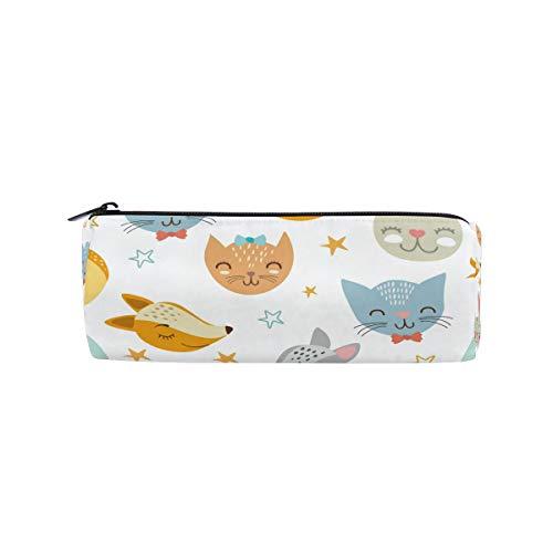 - DEZIRO Cartoon Animal Cat Fox Rabbit Drum Students Stationery Pouch Zipper Bag