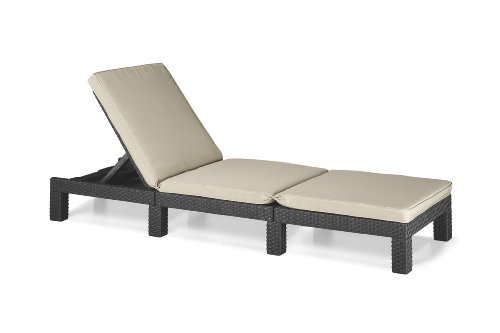 Allibert by Keter Daytona Sunlounger - Graphite with Cream Cushion