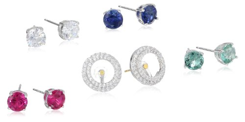 Sterling-Silver-Gemstone-Stud-Earring-Set-with-Cubic-Zirconia-Halo-Jacket