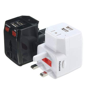 1pcs World Travel Adapter Convertor Plug with 2 USB Port Power US/UK/AU/EU - Tools & Home Improvement Switches & Sockets - (Black) - 1 x Grommet Punch Tool]()