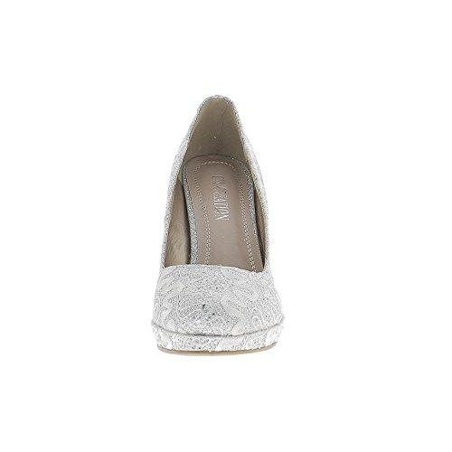 Escarpins gris silver dentelle et paillettes à talons fins de 11cm et mini plateforme