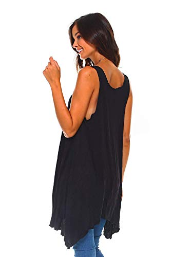 6b1cd84257c Simplicitie Women's Sleeveless Swing Flare Tunic Dress Tank Top - Regular  and Plus Size - Black