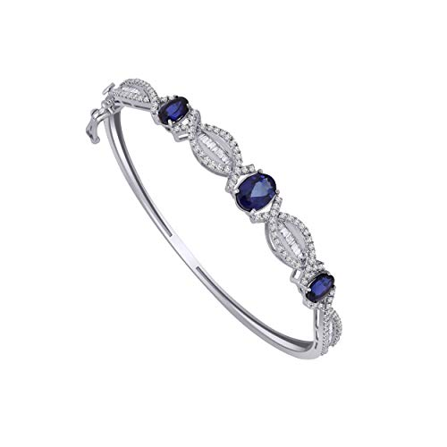 10K White Gold Multi-Shape Gemstone & 0.93 Ct Diamond 3-Stone Infinity Bangle Bracelet (blue-sapphire & real diamond)