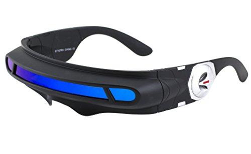 Futuristic Space Alien Costume Party Cyclops Shield Colored Mirror Mono Lens Wrap Sunglasses 137mm (Blue Mirror, 137)