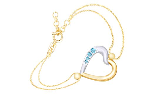 AFFY Round Shape Simulated Blue Topaz Two Tone Heart Link Chain Bracelets in 14k Yellow Gold Over Sterling Silver-7.5