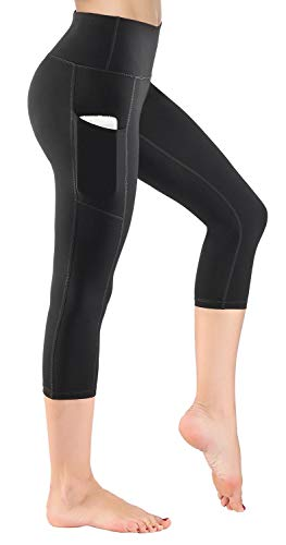 HOFI Women's High Waist Capri Yoga Pants with Side Pockets & Inner Pocket ()