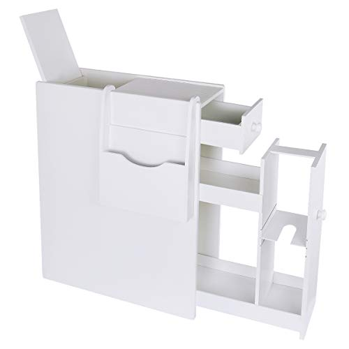 Find Bargain TopFire Slim Bathroom Floor Cabinet Bathroom Storage Cabinet White Standing Toilet Pape...