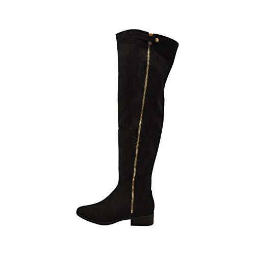 Bamboo Women's Play Thigh High Zipper Trim Chunky Block Heel Over-The-Knee Riding Boots (8, Black Suede) (Heel Fur High Suede Trim)