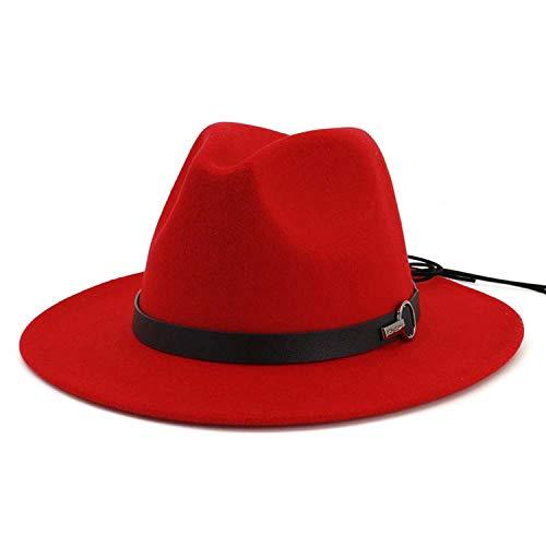 Women Wide Brim Wool Felt Jazz Fedora Hats Panama Style Trilby Gambler Hat Fashion Party Cowboy SunCap,Red - Gambler Style Red Straw Hat