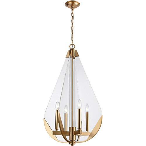 Chandeliers 4 Light Fixtures with Aged Brass Finish Metal/Acrylic Material E12 Bulb 19