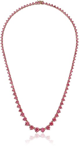 Rose Gold Plated Sterling Silver Swarovski Zirconia Fancy Pink Round-Cut Graduated Riviera Necklace, 17""