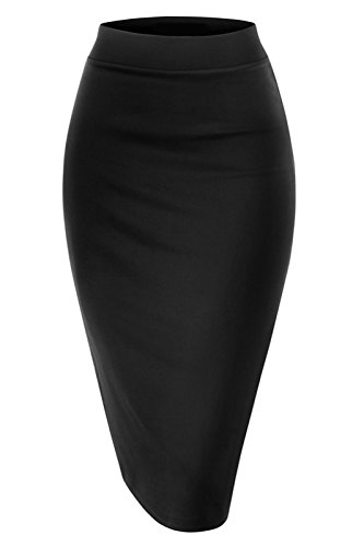NBU Women Elastic Waist Band Stretchy Fabric Pencil Skirt (2XL, Banded_Black)