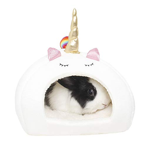 ABLAZEZAI Small Animal Chinchilla Guinea Pigs Hedgehogs Rabbit Dutch Rats Hamsters Ferrets Bed Bearded Dragon House Soft Cute Unicorn Pet Nest (L, White)