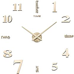 Aililife 3D DIY Wall Clock Decor Sticker Mirror Frameless Large DIY Wall Clock Kit for Home Living Room Bedroom Office Decoration (Gold)