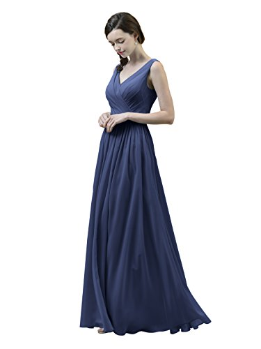 Alicepub V-Neck Chiffon Bridesmaid Dress Long Party Prom Evening Dress Sleeveless, Navy, US16