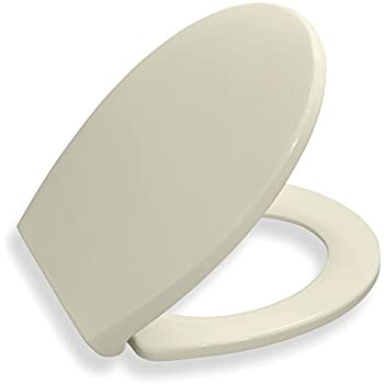 Bath Royale Premium Round Toilet Seat with Cover, Almond