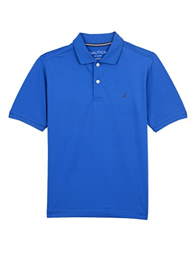 - Nautica Boys' Big Short Sleeve Solid Performance Polo Shirt, Ocean Lapis Blue, Medium (10/12)