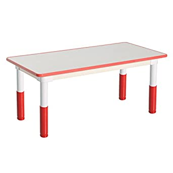 school rectangle table. Qaba Height Adjustable Rectangle School Table - Learning And Education Activity Red