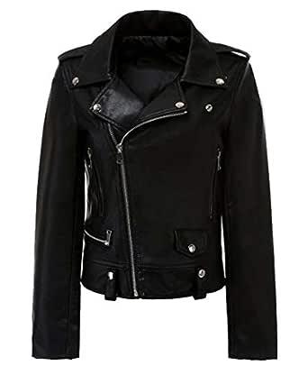 Macondoo Womens Fashion Outwear Oblique Zipper Moto Biker Faux Leather Jacket Black XS