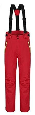 Cloudy Arch Women's Waterproof Mountain Pants Fleece Windproof Ski Pants(Red,US S/XL)