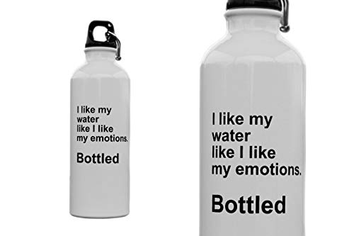 Funniest Water Bottle Gift- Unique Relatable Quote - BPA Free Aluminum Sports Fun Motivational Drinking Water and Iced Coffee 17 oz - I Like My Water Like I Like My Emotions