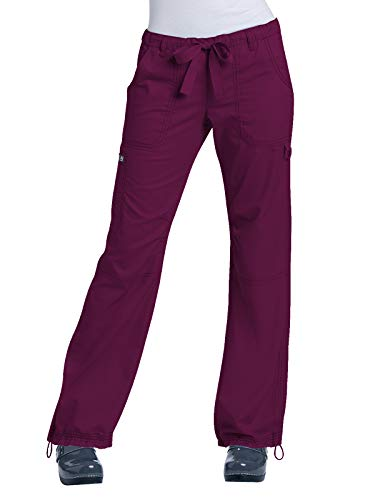 KOI Women's Lindsey Ultra Comfortable Cargo Style Scrub Pants (Tall Sizes), Wine, Medium