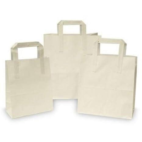 15 x papel blanco alimentos/Takeaway/bolsas de fiesta con ...