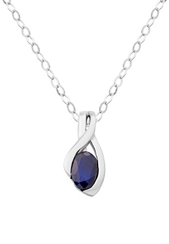 Miore - Collier Femme - Or Blanc 18 Cts 750/1000 2.3 Gr - Saphir