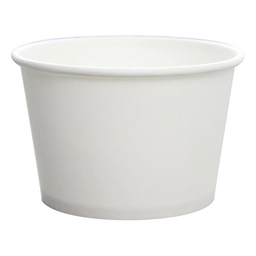 Karat CKDP8W, 8-Ounce White Paper Cold and Hot Food Container with Plastic Flat Lid, Dessert Ice-Cream Yogurt Soup Containers with Matching Covers (100)